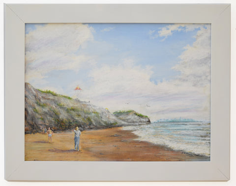 Kite Flying Beach Seascape Vintage Oil Painting Signed Framed