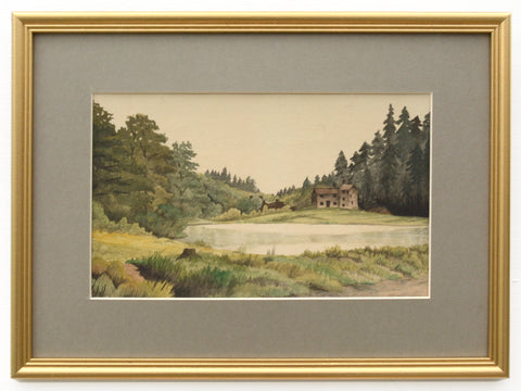 English Landscape Vintage Painting Lakeside Country Farmhouse Framed