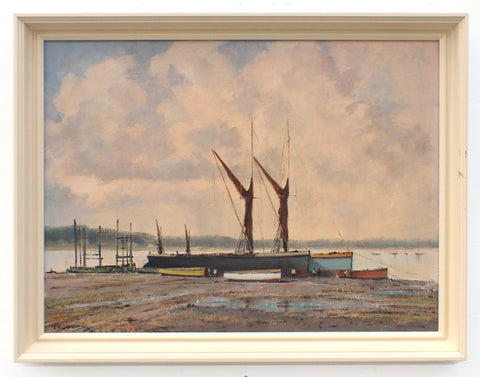 Sailing Boats Oil Painting Thames Barges Pin Mill Suffolk Coastal Wall Art