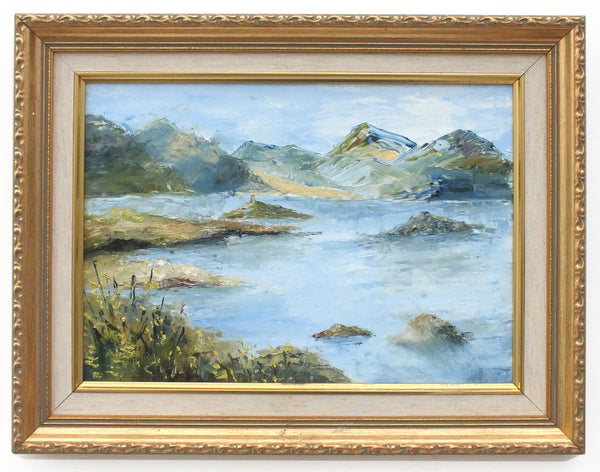 Lake District English Mountain Landscape Vintage Oil Painting Framed