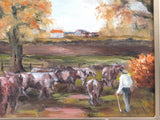 Norfolk English Country Landscape Cattle Farming Scene, Cows Milking Time