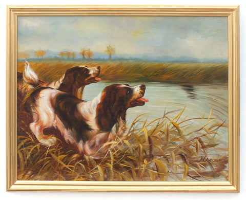 English Landscape Springer Spaniel Hunting Gun Dogs Original Oil Painting