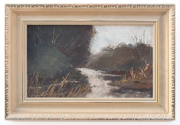 English Landscape Riverbank at Downton Wiltshire Oil Painting