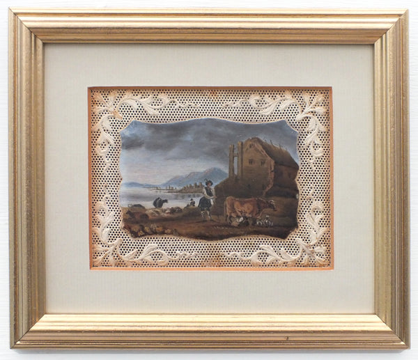 Miniature Antique Oil Painting Framed Austrian Landscape Cattle Herder