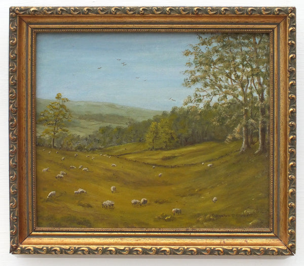 English Landscape Northumberland Sheep Farming Oil Painting Framed