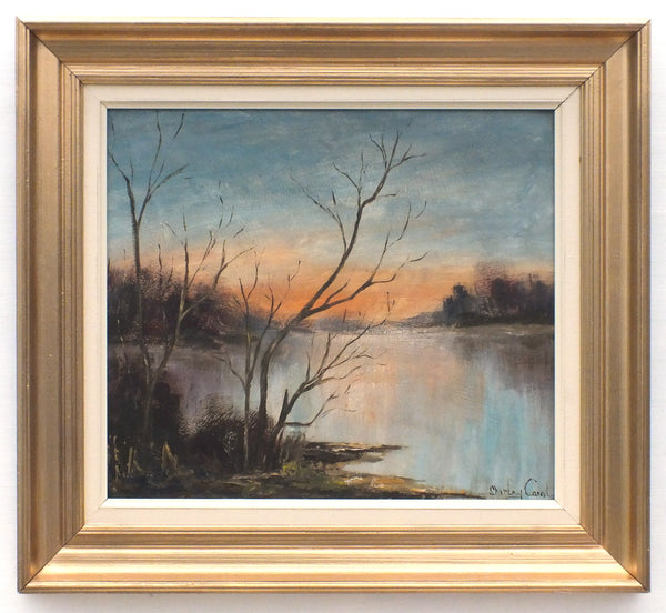 English Country Landscape Oil Painting Dawn at Kelling Lake