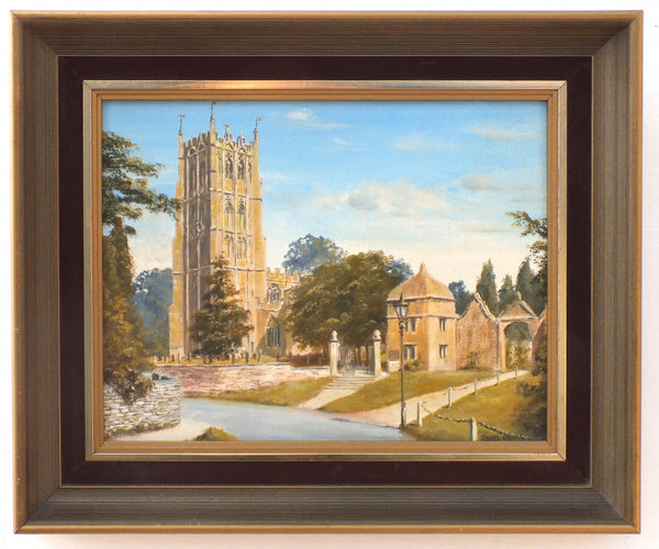 English Country Landscape Oil Painting Signed Framed Original Chipping Campden St James Church