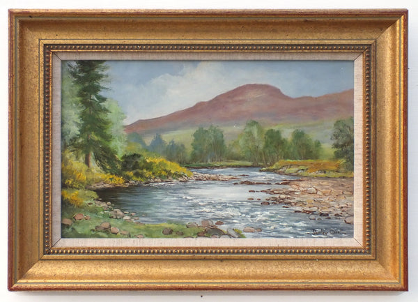 Scottish Landscape Vintage Oil Painting River Carron Signed Framed
