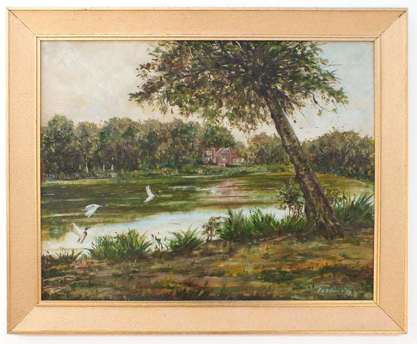 Slaugham Mill Pond English Country Landscape Vintage Oil Painting Fishing Lake Signed Framed Original