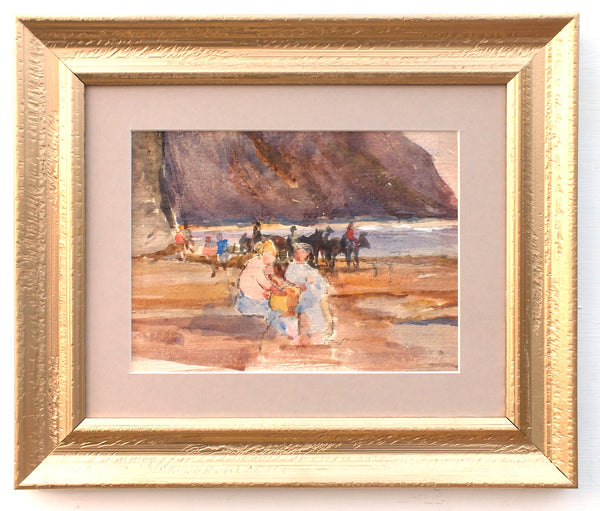 English Landscape Beach Painting Seaside Watercolour Framed Original Coastal Art