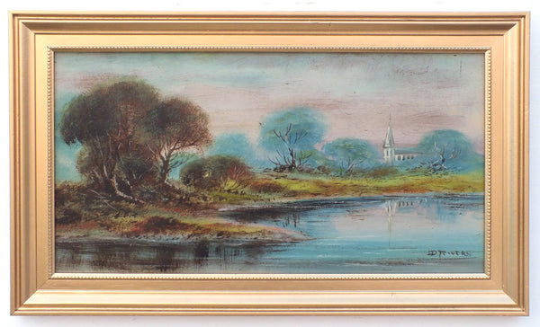 English Landscape Oil Painting Lake Church Signed Framed Original