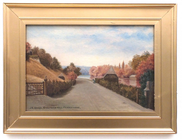 English Country Landscape Antique Oil Painting Shooters Hill Pangbourne River Thames Signed Framed Original
