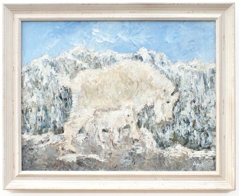 Mountain Goats Original Framed Wildlife Painting by Andi Lucas
