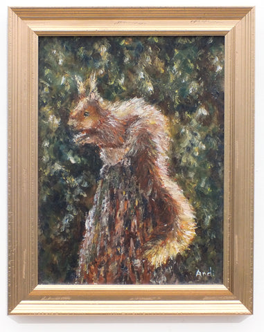 Red Squirrel Portrait Painting Original Oil Wildlife Painting Signed Framed Wildlife Art Cabin Wall Decor