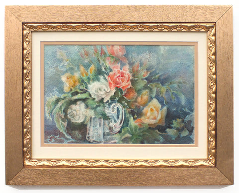 Red Yellow Roses Still Life Watercolour Painting Framed