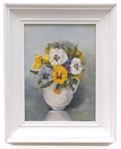 Pansies Still Life Vintage Oil Painting Framed Original Flowers