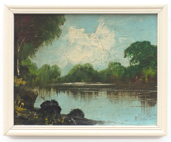 English Landscape Vintage Oil Painting Signed Framed River Cray Kent