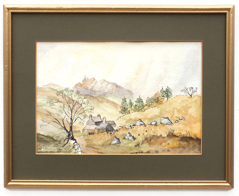 English Landscape Watercolor Painting North Yorkshire Sheep Farm