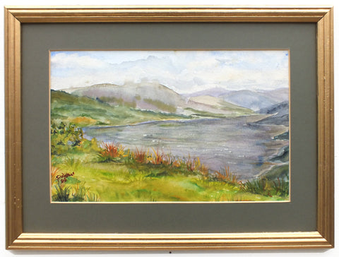 English Landscape Watercolor Painting Lake District Mountains