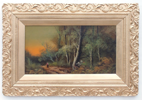 English Landscape Victorian Oil Painting Forest Path Sunset Scene Framed Original Antique Art