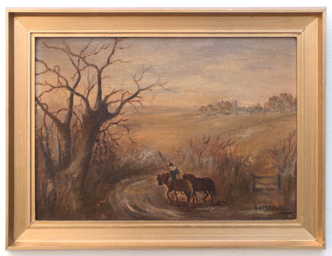 English Landscape Exmoor Oil Painting Misty Morning Scene Signed Framed