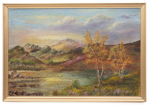 Scottish Highlands Mountain Landscape Vintage Oil Painting Loch Maree