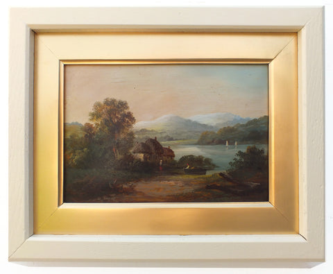 Victorian Oil Painting Antique Lakeside Boat Cottage Scene - GalleryThane.com
