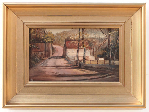 English Landscape Miniature Oil Painting Larpool Flour Mill Whitby
