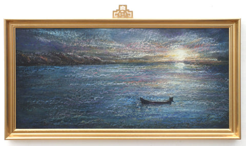 Seascape Impressionist Oil Pastel Painting Fishing Boat Sunset Framed Original Vintage Nautical Art Maritime Painting