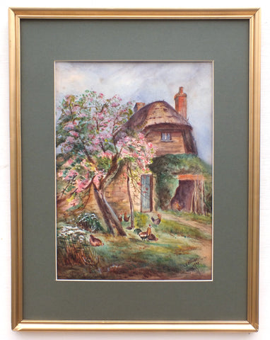 English Thatched Cottage Watercolor Painting Signed Framed Vintage Farmhouse Wall Art Country Scene English country landscape painting