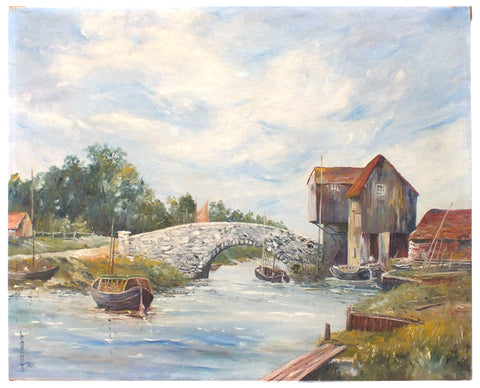 English River Landscape Oil Painting Unframed Boats - GalleryThane.com