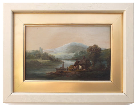 Victorian Oil Painting Antique Lakeside Cottage Scene - GalleryThane.com