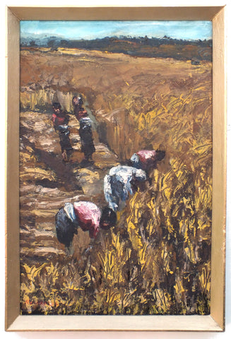 Indian Farming Landscape Oil Painting Framed - GalleryThane.com
