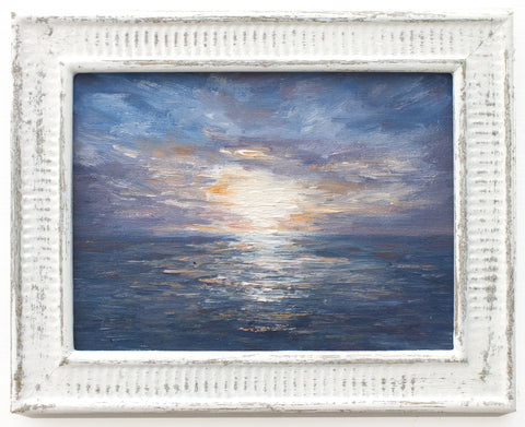 Cornwall Coastal Sunset Oil Painting, Framed Miniature