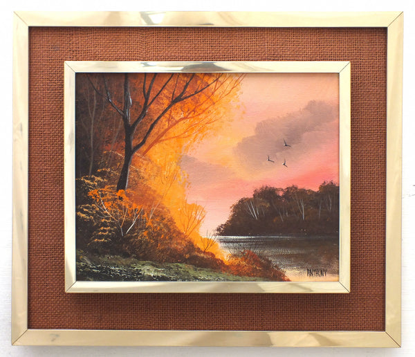 English Autumn Country Landscape Oil Painting Framed - GalleryThane.com