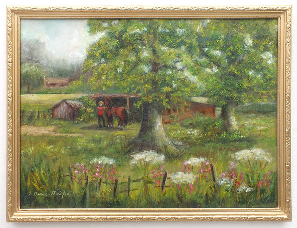 English Equestrian Country Landscape Oil Painting Framed - GalleryThane.com