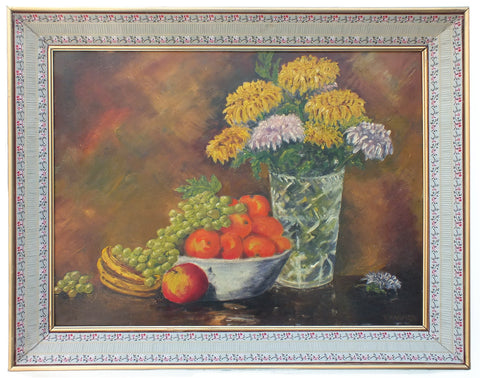 Fruit Flowers Still Life Vintage Oil Painting Signed Framed - GalleryThane.com