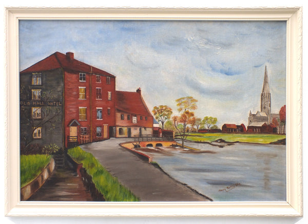 Old Mill Hotel Salisbury River Landscape Oil Painting Framed Signed