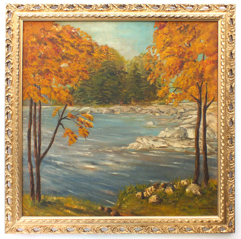 Glen Orchy Autumn River Landscape Oil Painting Framed - GalleryThane.com