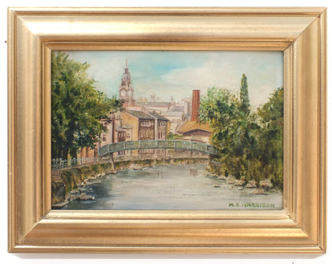 Kendal, River Kent Oil Painting Framed Signed