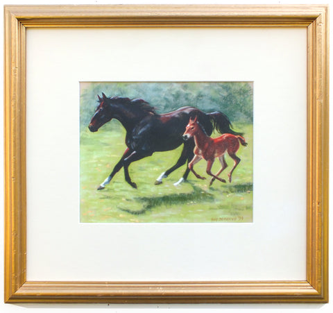 Horse and Foal Oil Pastel Painting Framed - GalleryThane.com