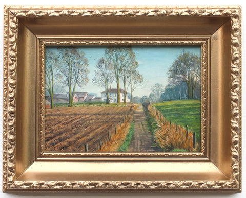 Pastoral Miniature Landscape Oil Painting Holwood Farm