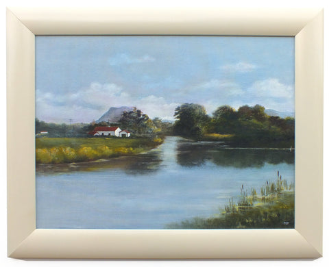 English Country Landscape River Oil Painting, Framed