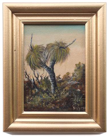 Tropical Landscape Miniature Oil Painting Framed