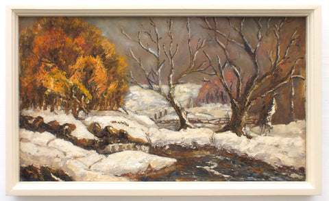 Winter River Landscape Snow Scene Framed Oil Painting