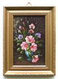 Pink Petunias Miniature Floral Oil Painting Framed