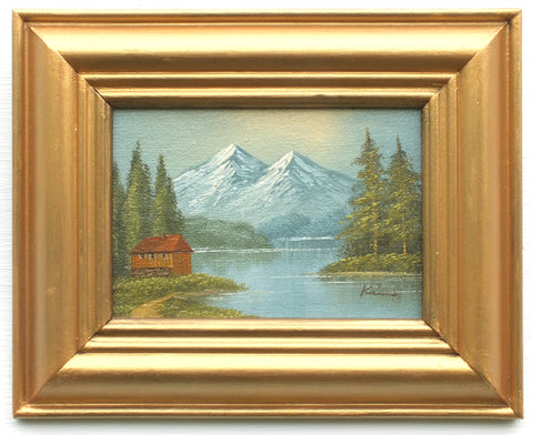 Miniature Alpine Lake Landscape Oil Painting Framed