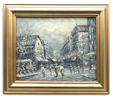 Paris Street Scene Black White Framed Oil Painting