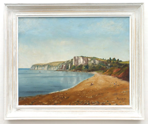 Seaton Beach Painting, Dorset Seascape, Beer Head Framed