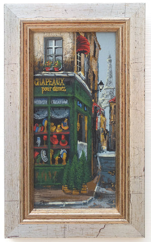Miniature Paris Street Scene Oil Painting Signed Framed Montmartre Ladies Hat Shop